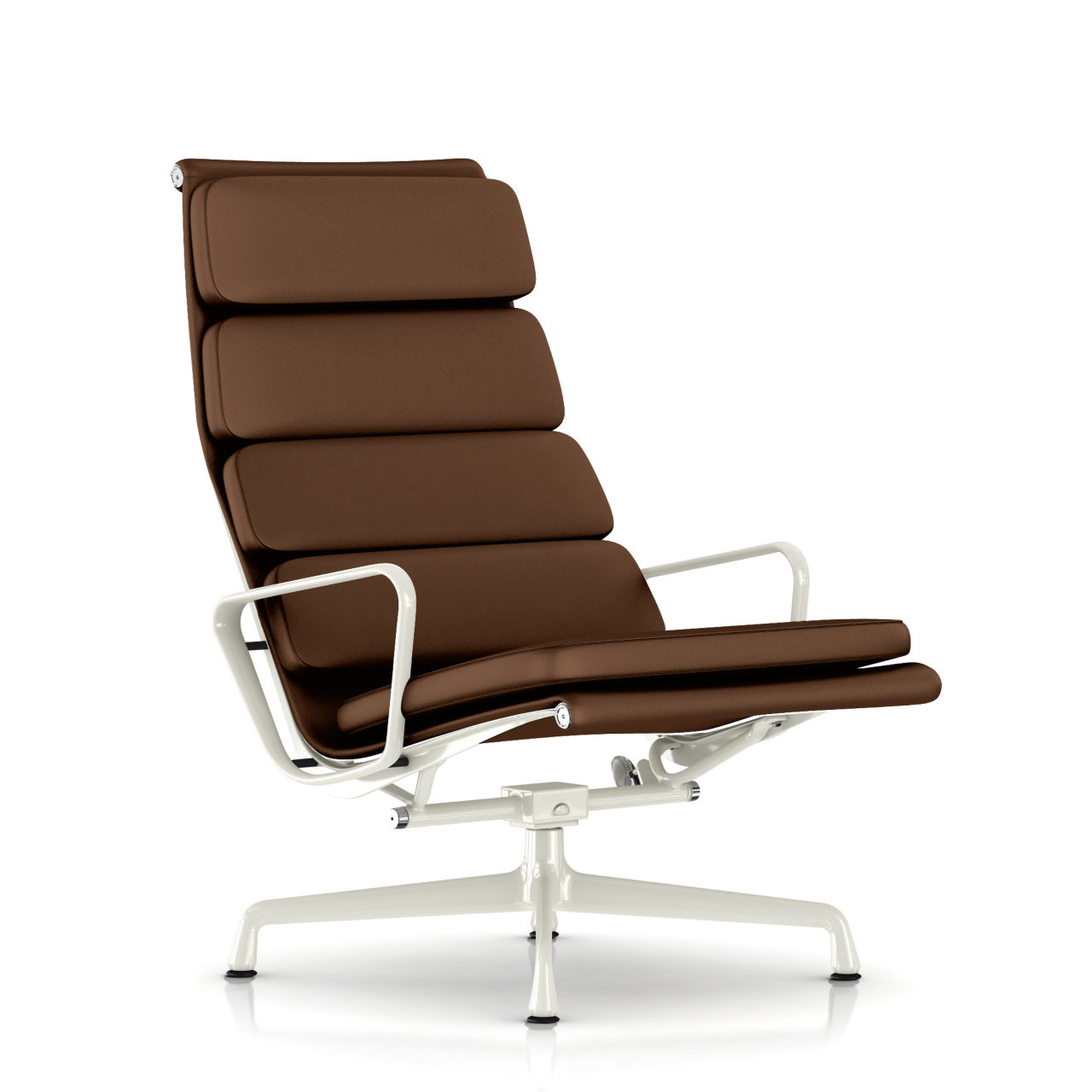 Eames Soft Pad Lounge Chair in Truffle Leather by Herman Miller
