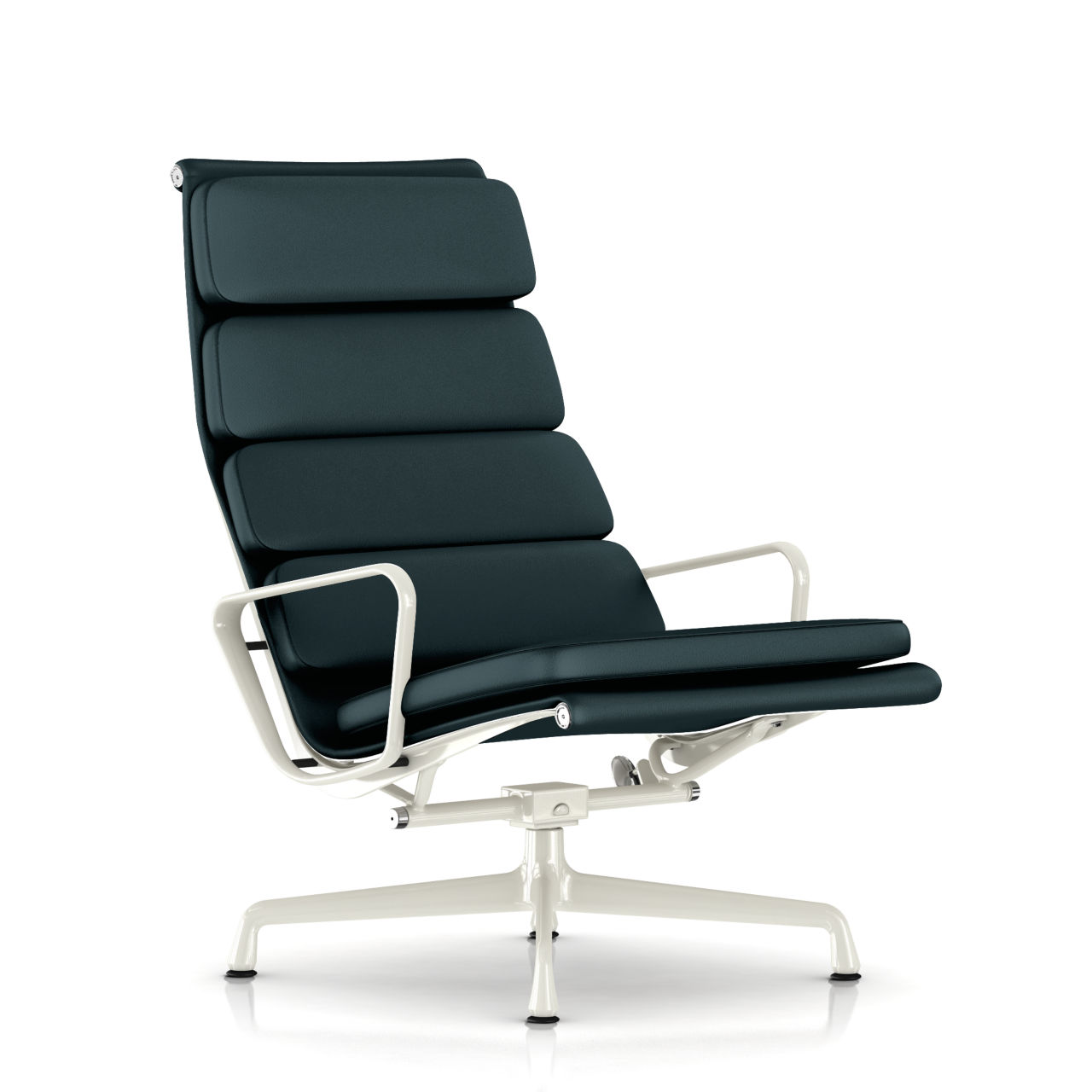 Eames Soft Pad Lounge Chair in Deep Sea Leather by Herman Miller