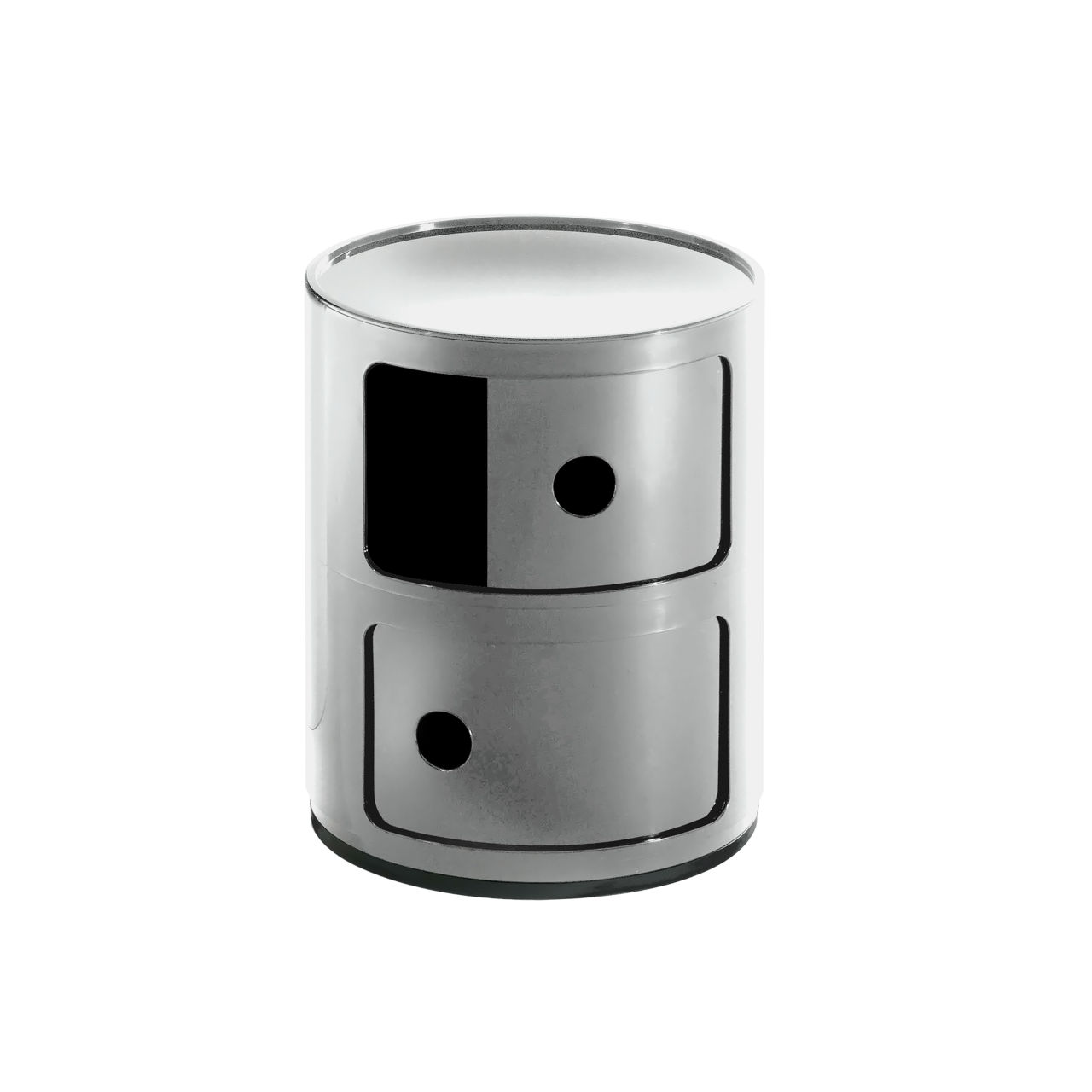Componibili Small Round Storage Modules in Silver by Kartell
