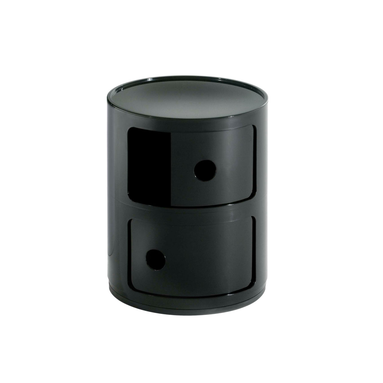 Componibili Small Round Storage Modules in Black by Kartell