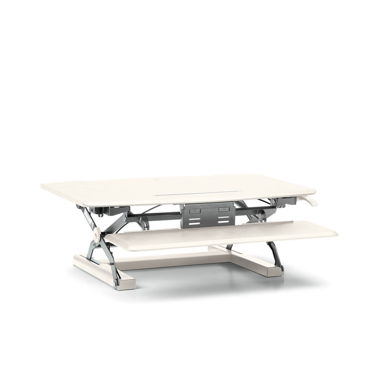 Coordinate Desktop Riser with Keyboard Tray in White by Hon