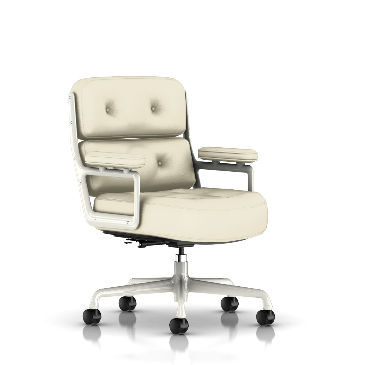 Eames Executive Work Chair in Ivory Leather by Herman Miller
