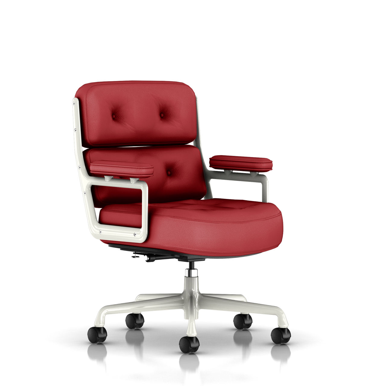 Eames Executive Work Chair in Cranberry Leather by Herman Miller