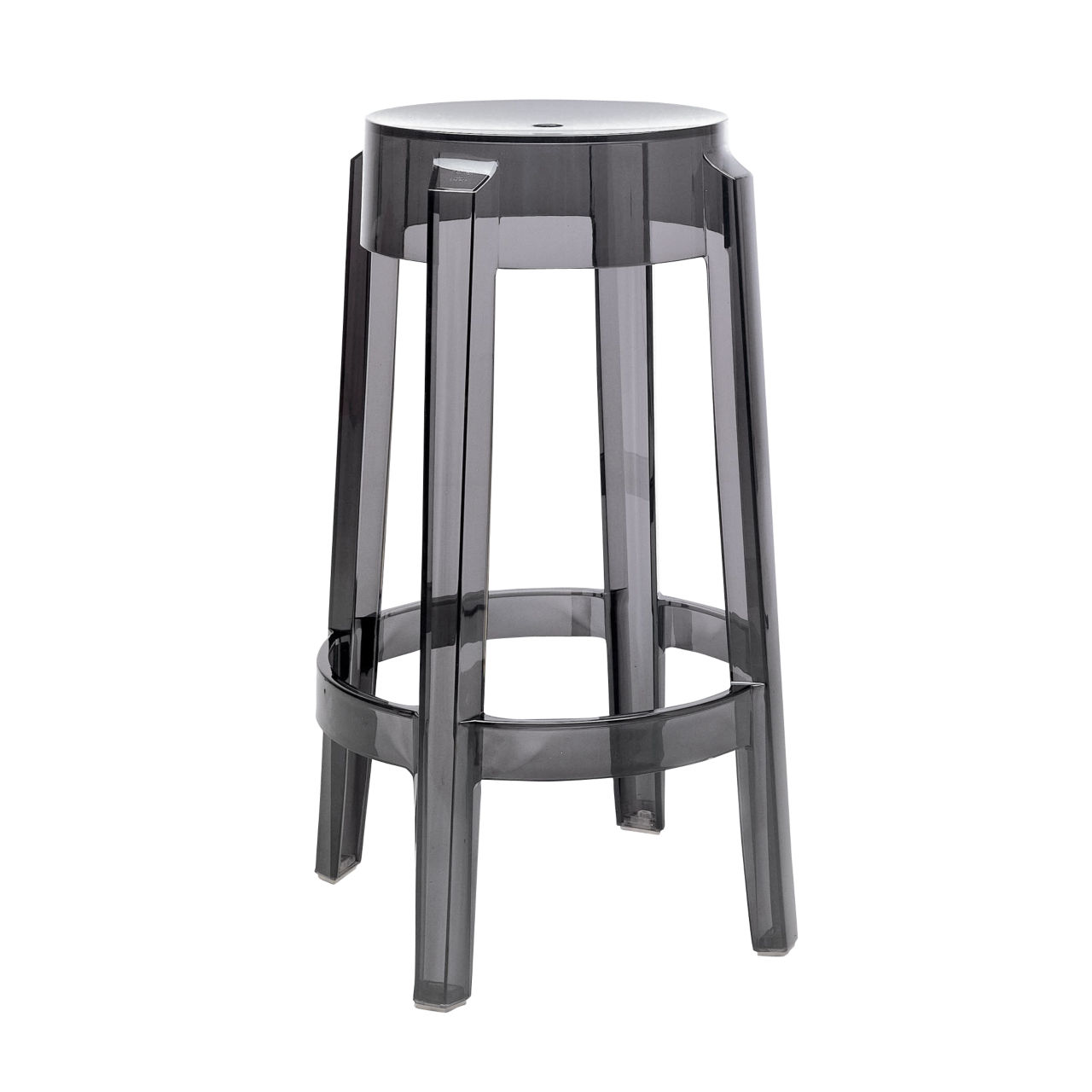 Charles Ghost Stool in Smoke Grey Large by Kartell