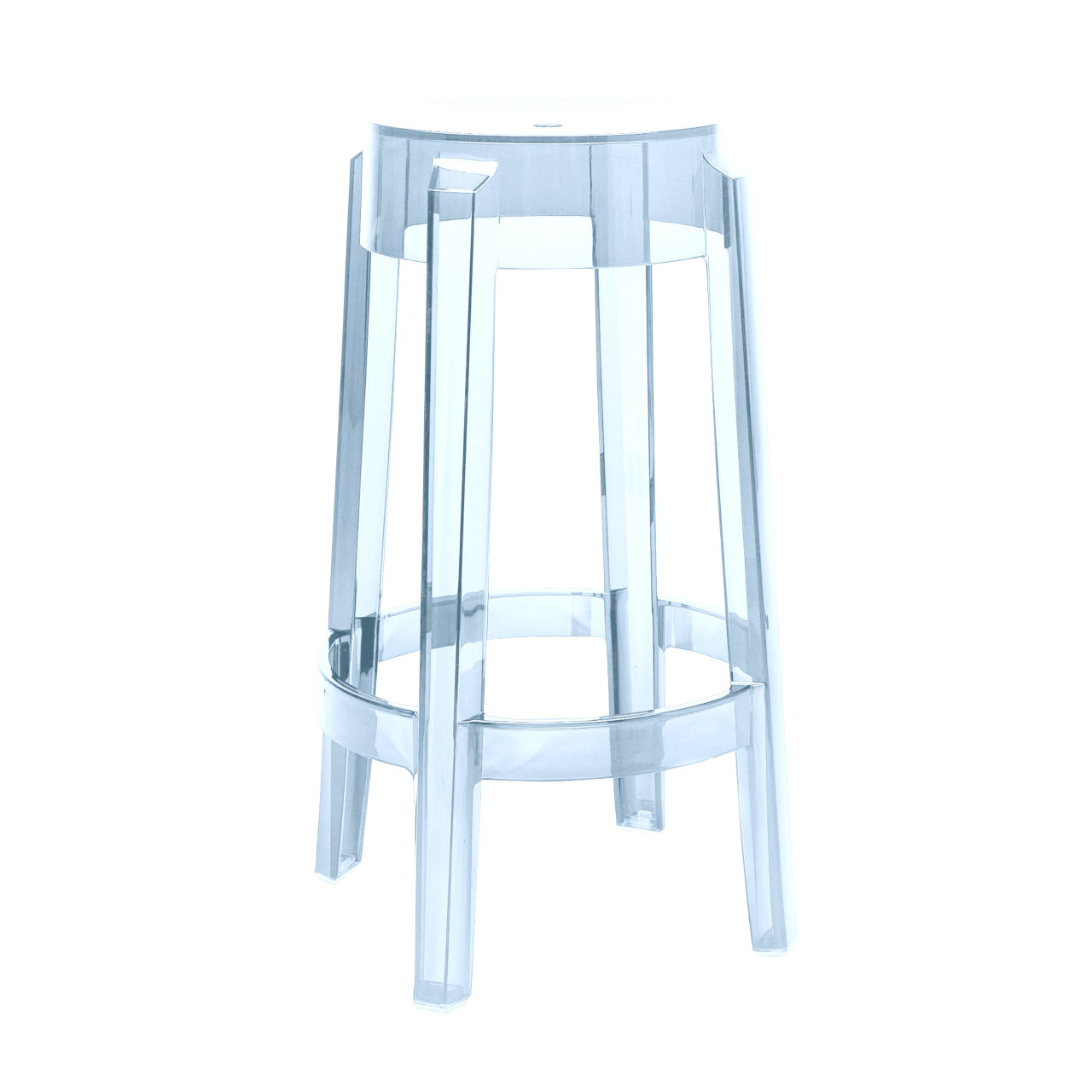 Charles Ghost Stool in Light Blue Large by Kartell