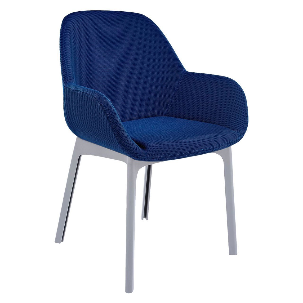 Clap Solid Chair in Trevira Blue by Kartell