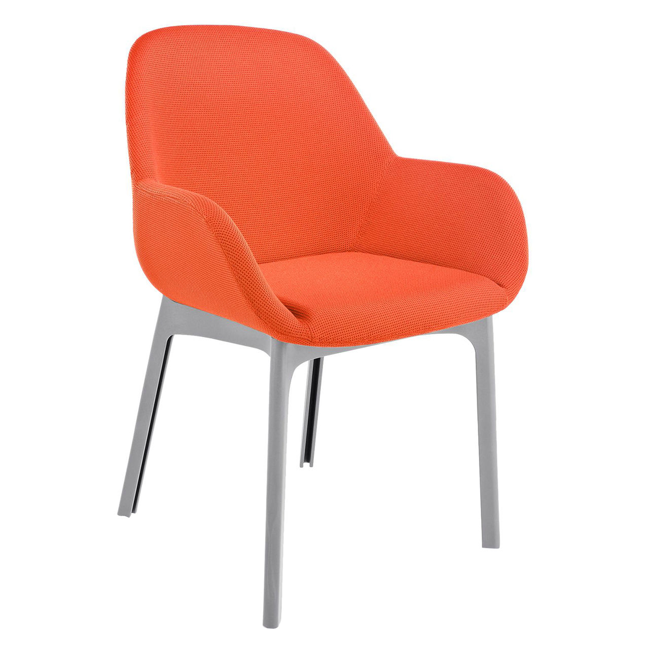 Clap Solid Chair in Trevira Orange by Kartell