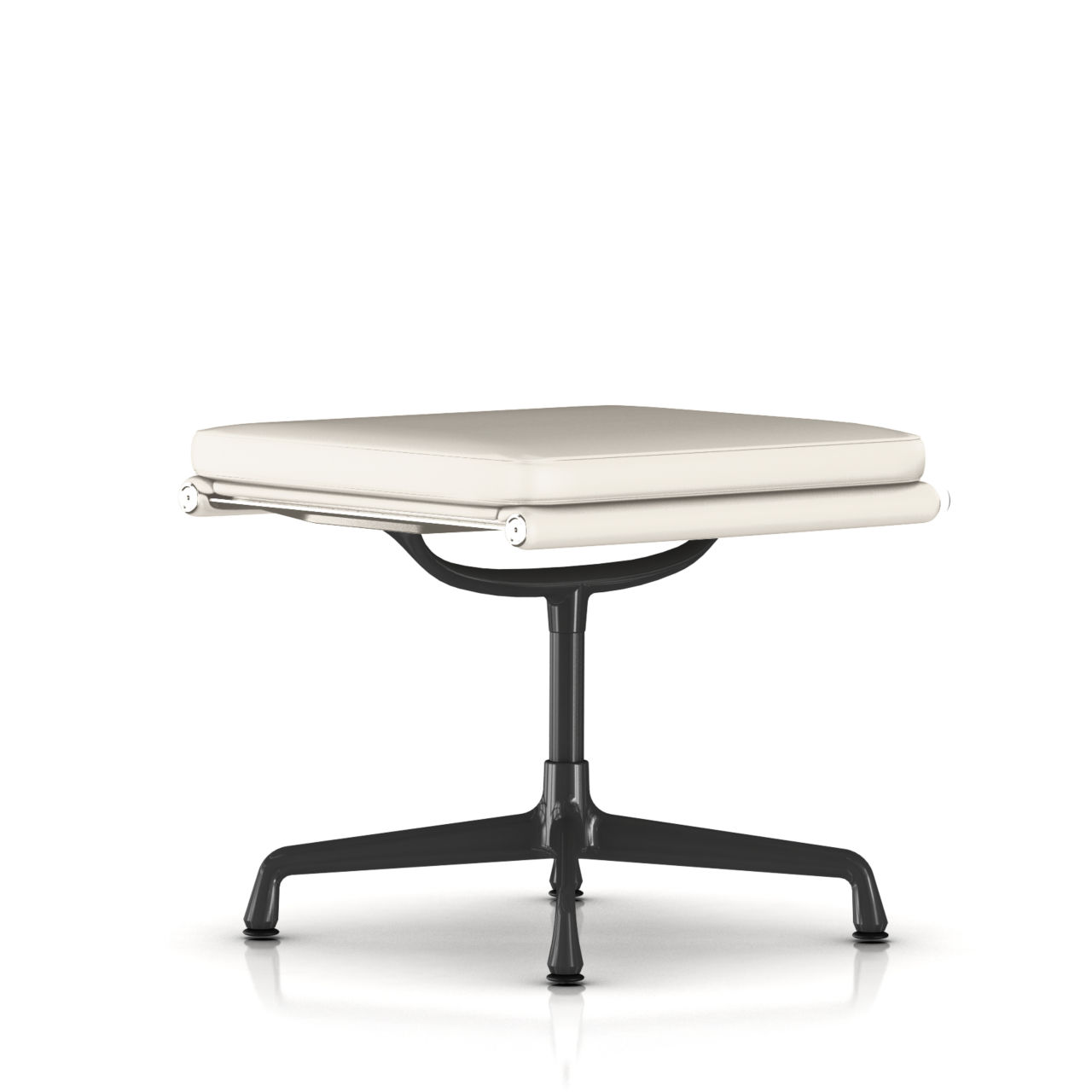 Eames Soft Pad Ottoman in Alpine Leather by Herman Miller