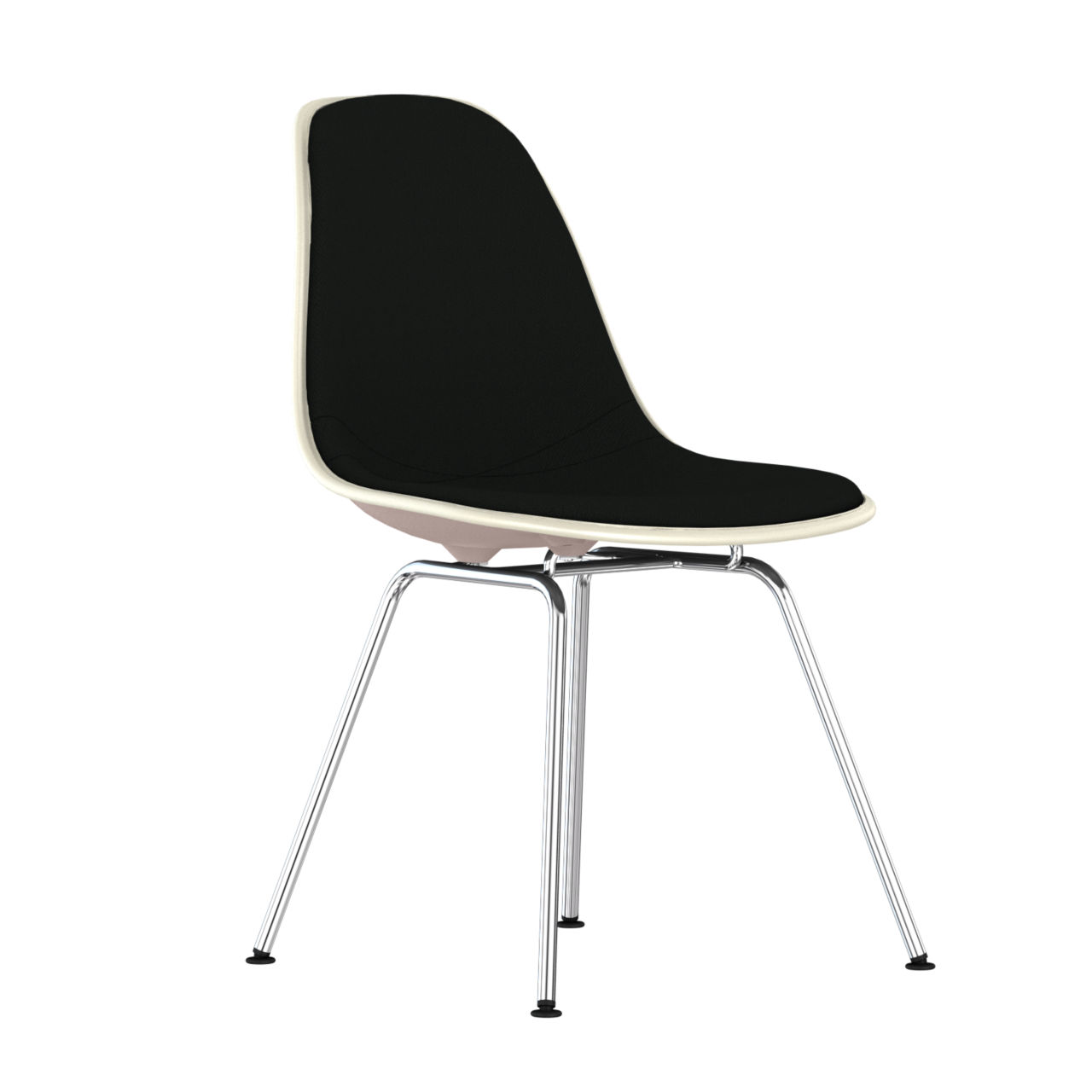 Eames Upholstered Molded Plastic Side Chair with 4 Leg Base in Stone by Herman Miller