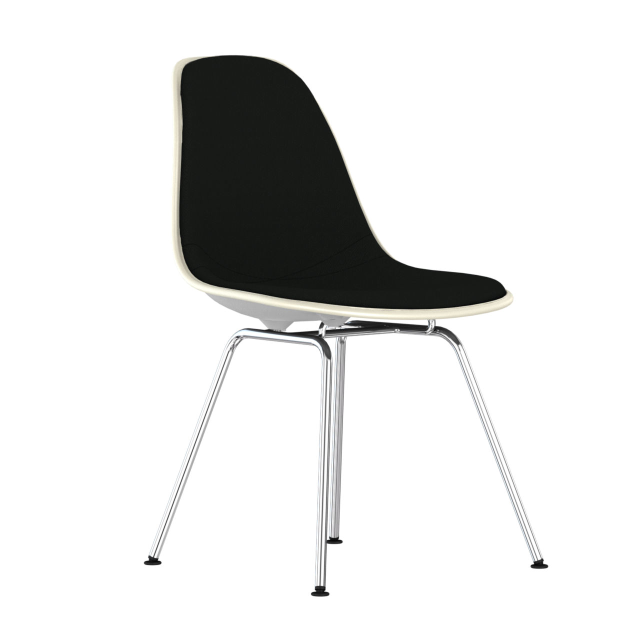 Eames Upholstered Molded Plastic Side Chair with 4 Leg Base in Alpine by Herman Miller