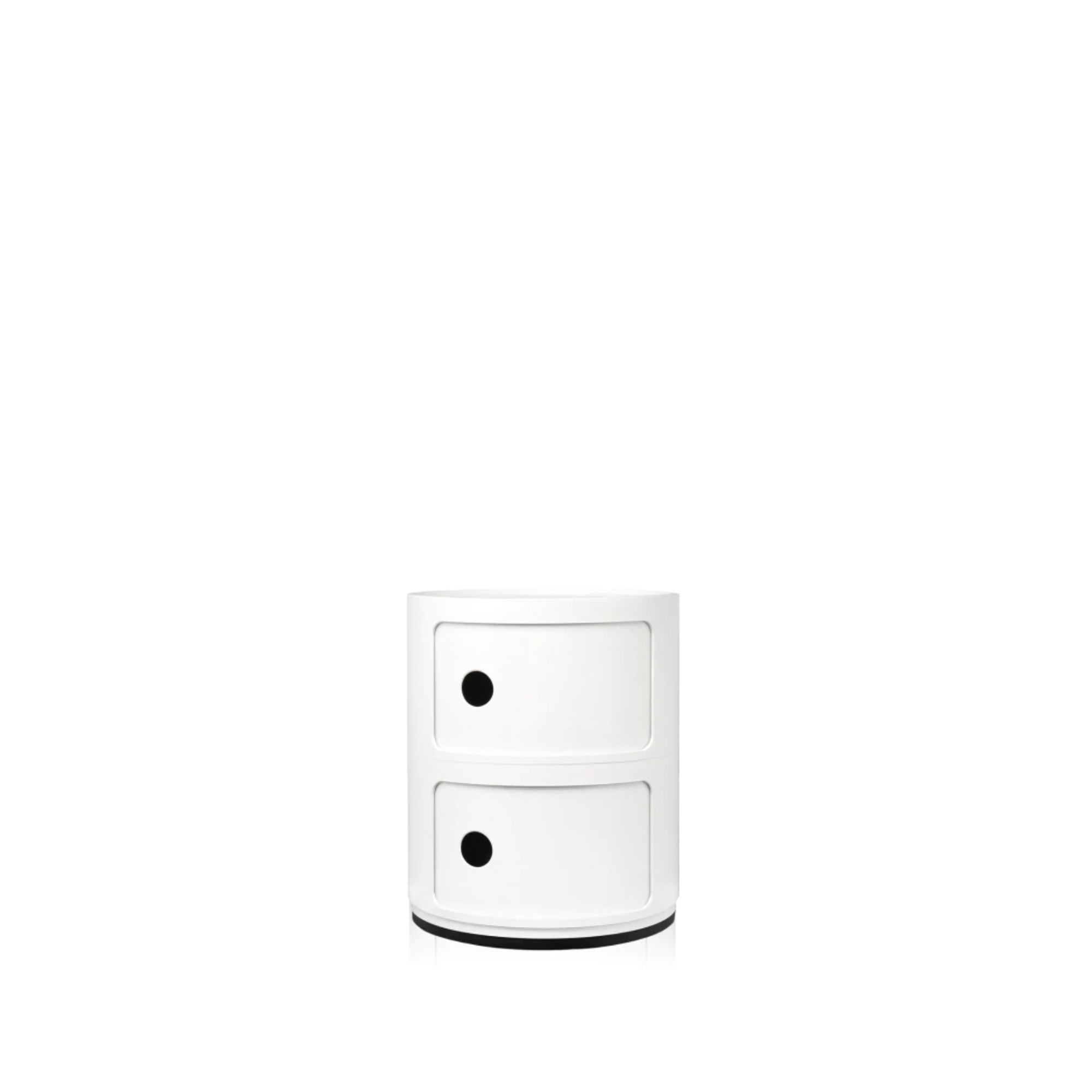 Componibili Large Round White Stackable Modules Short Modules by Kartell