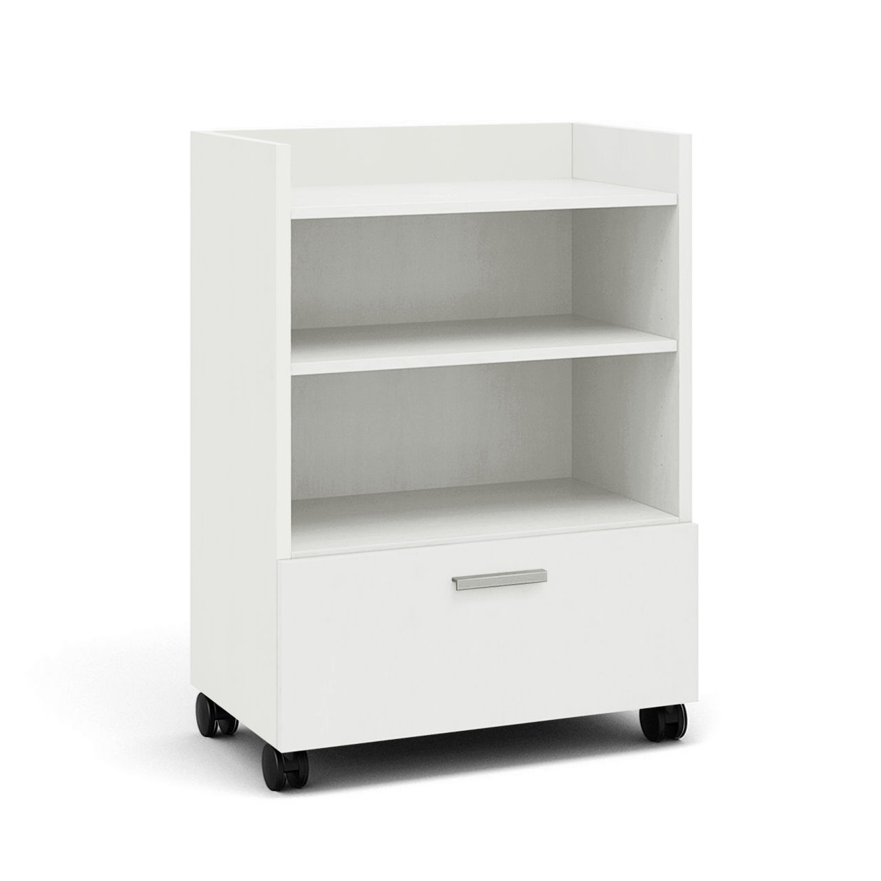 Currency Tall Mobile Cart with Lateral Drawer in Arctic White by Steelcase