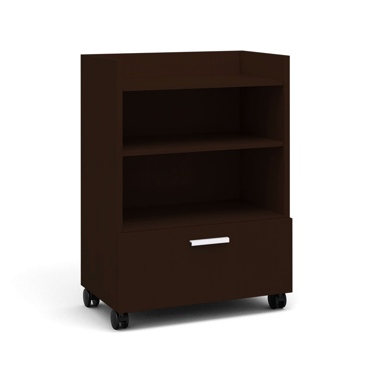 Currency Tall Mobile Cart with Lateral Drawer in Chocolate Walnut by Steelcase