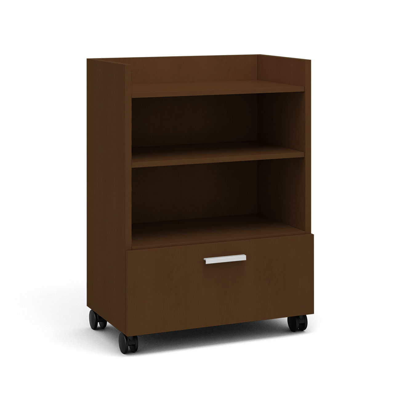 Currency Tall Mobile Cart with Lateral Drawer in Clear Walnut by Steelcase