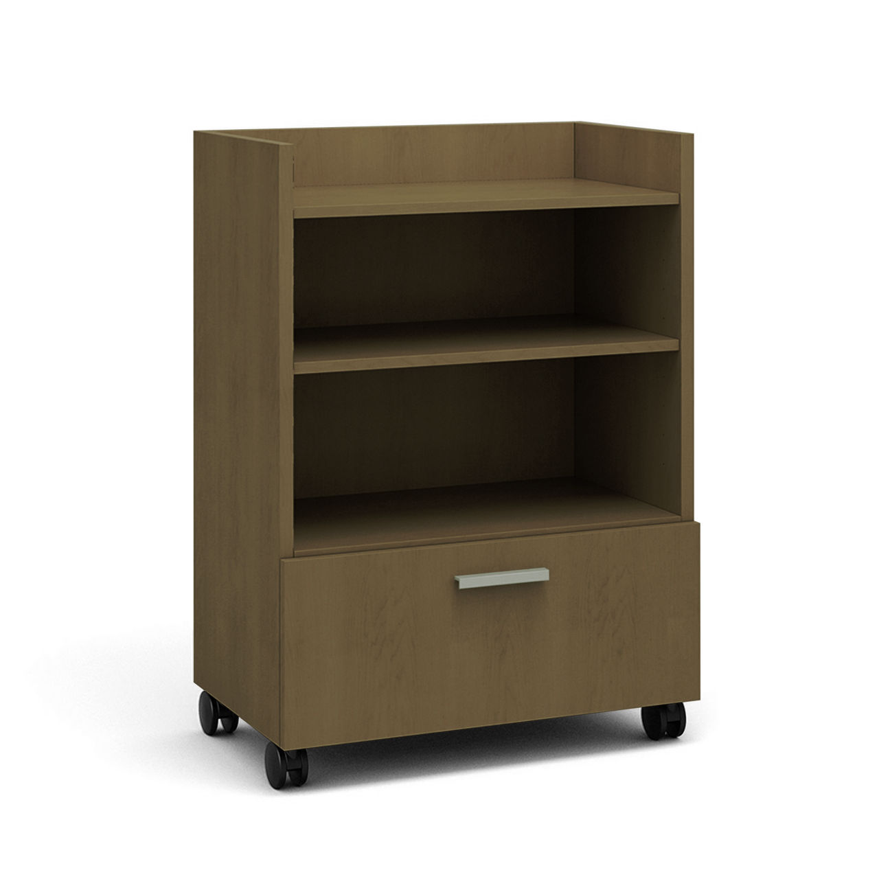 Currency Tall Mobile Cart with Lateral Drawer in Virginia Walnut by Steelcase
