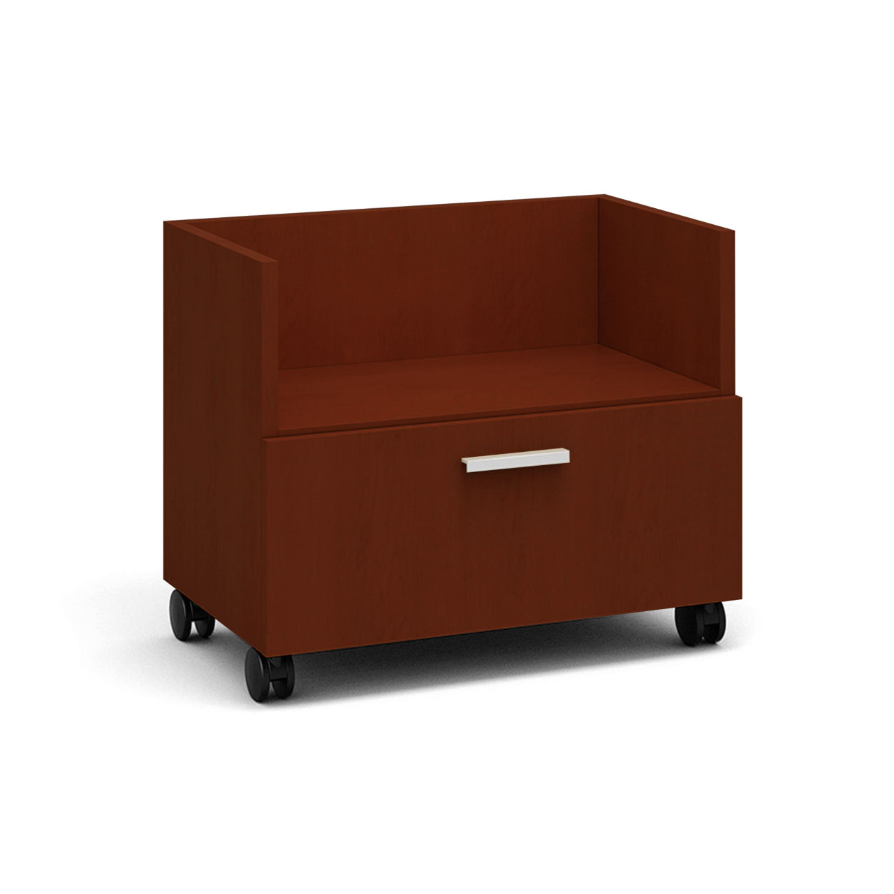 Currency Mobile Cart with Lateral Drawer in Marbled Cherry by Steelcase