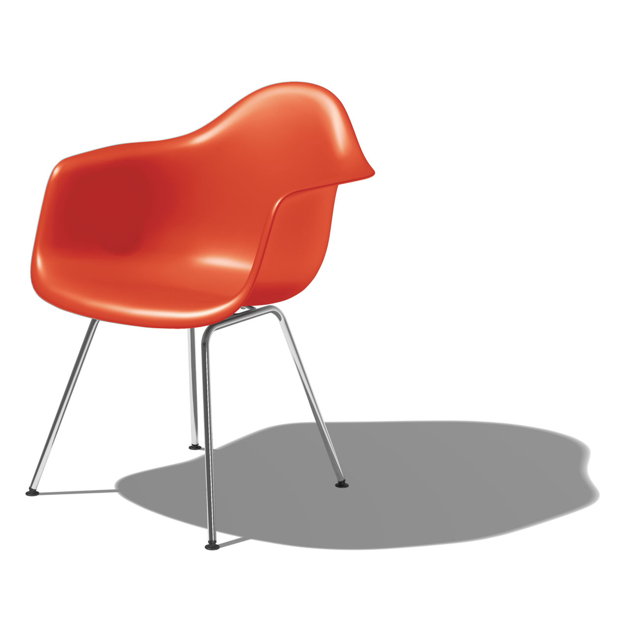 Eames Molded Plastic Armchair with 4 Leg Base in Red Orange by Herman Miller