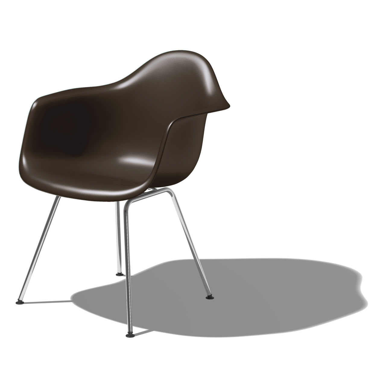 Eames Molded Plastic Armchair with 4 Leg Base in Java by Herman Miller