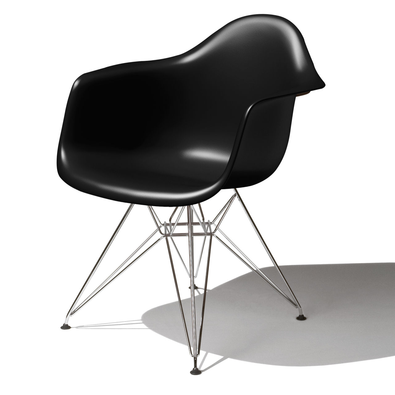Eames Molded Plastic Armchair in Black by Herman Miller