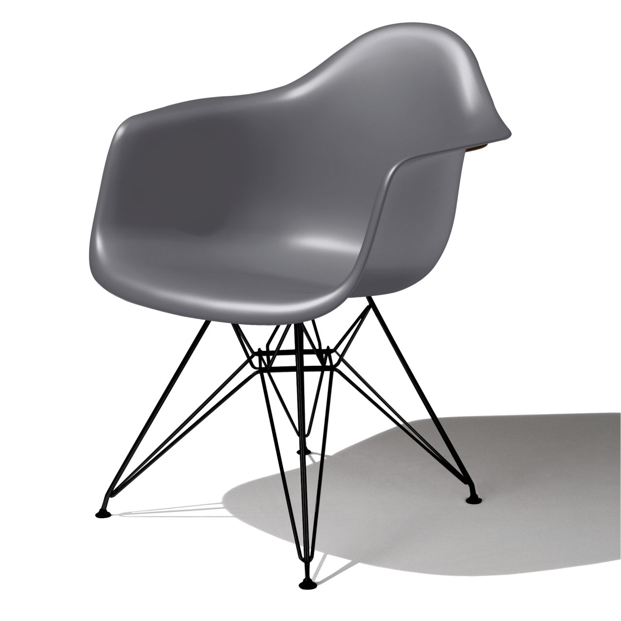 Eames Molded Plastic Armchair in Charcoal by Herman Miller