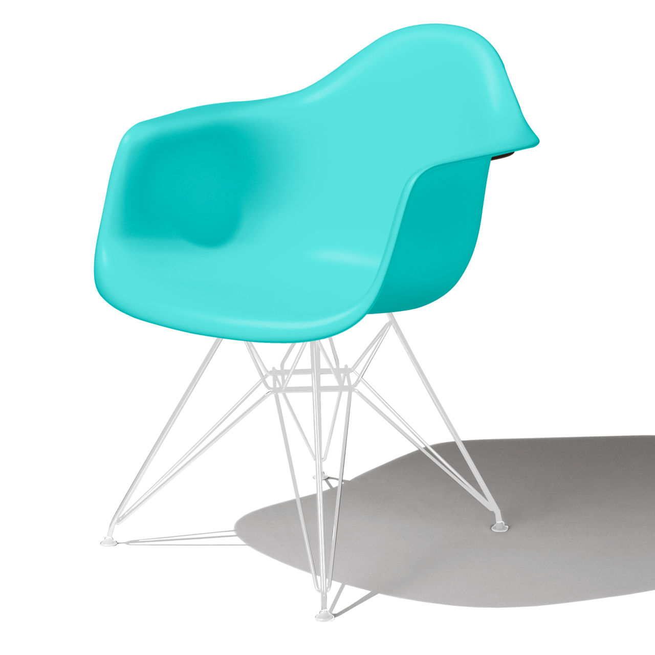 Eames Molded Plastic Armchair in Aquasky by Herman Miller