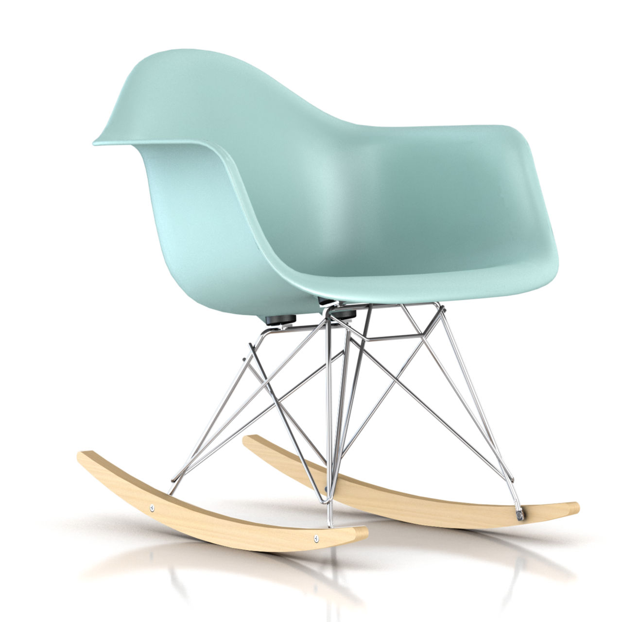 Eames Molded Plastic Rocking Chair in Aquasky by Herman Miller