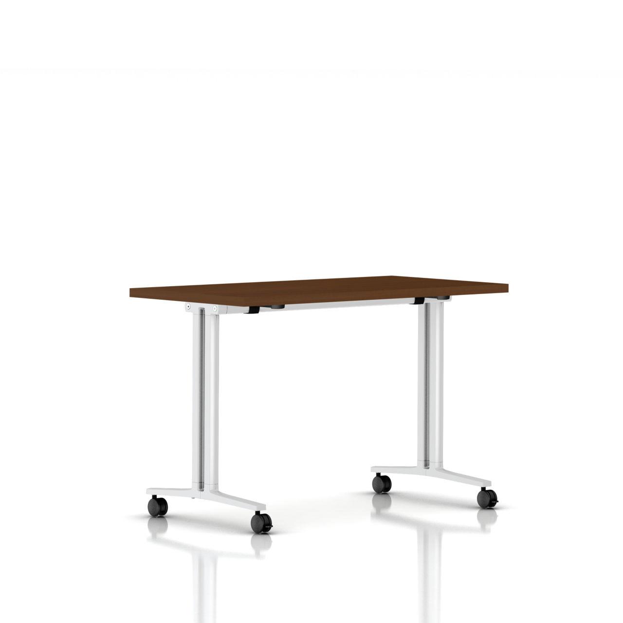 Flip Top Everywhere Table in Light Brown Walnut 48 in Wide by Herman Miller