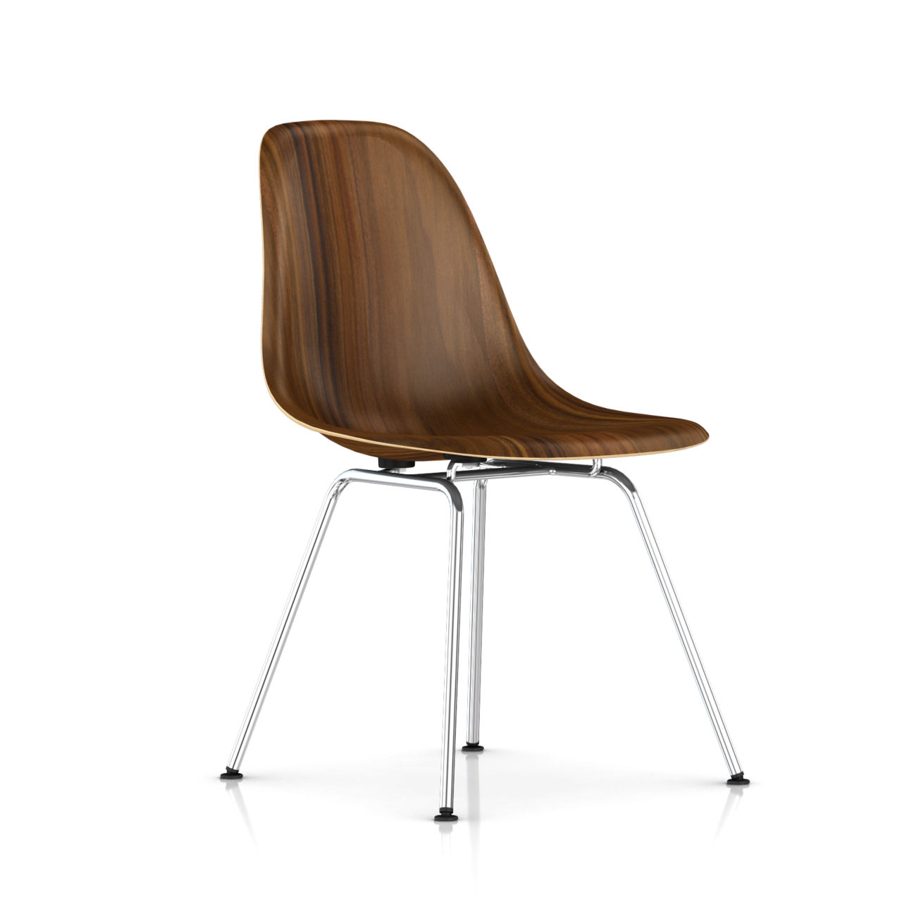 Eames Molded Wood Side Chair with 4 Leg Base by Herman Miller