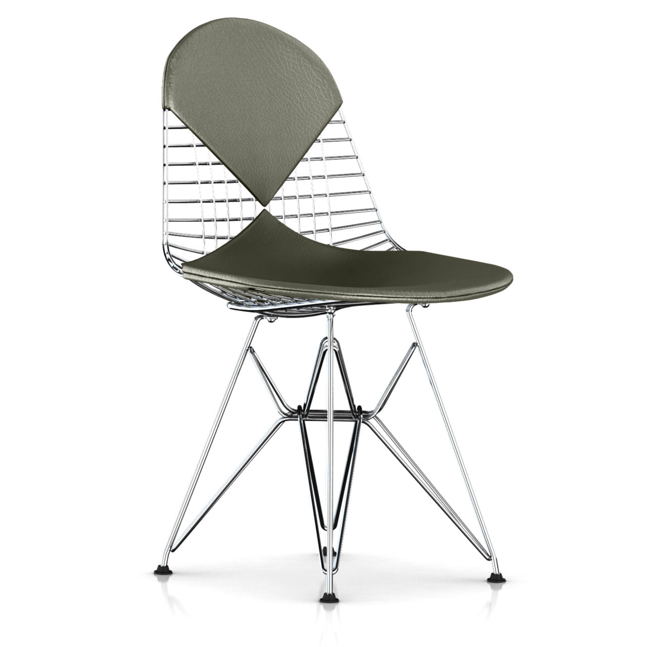 Eames Bikini Wire Chair in Sage Open Line Leather by Herman Miller