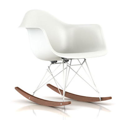 Eames Molded Plastic Rocking Chair in Black by Herman Miller