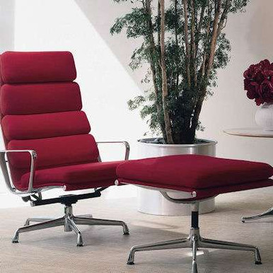 Eames Soft Pad Lounge Chair and Ottoman in Sable Grey Leather by Herman Miller