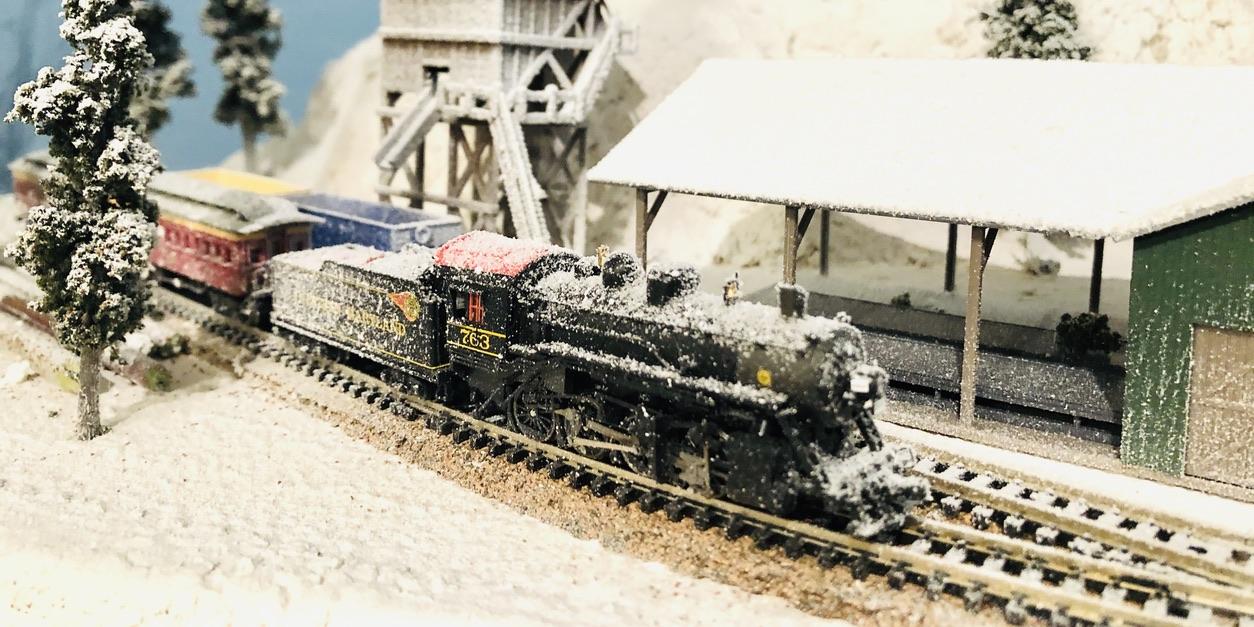 model railroad winter scene