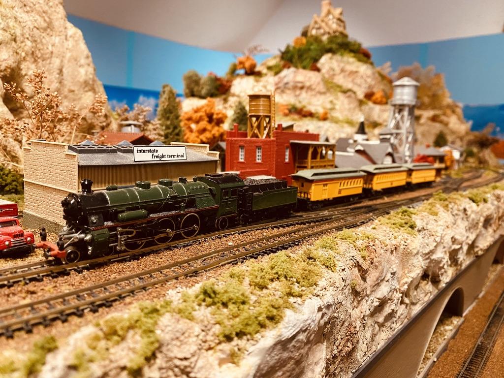 model railroad train station