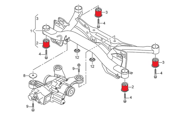 Rear Aluminium Subframe Bushings MQB Audi A3 S3 RS3 8V, TT TTS TTRS 8S, VW Golf Mk7, Seat Leon 5F