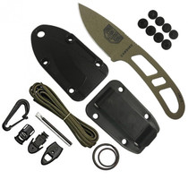ESEE Candiru Dark Earth Drop Point Skeletonized Steel Handle Fixed Blade Knife with Black Molded Sheath