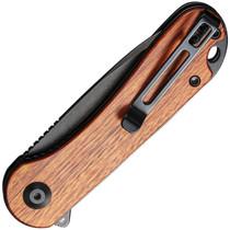 CIVIVI Elementum Black Stonewash Drop Point Cuibourtia Wood Handle Folding Knife