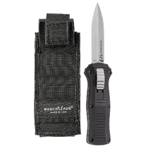 BENCHMADE Mini-Infidel 3.1in Satin Dagger Black Aluminum Handle Automatic Out-The-Front Knife (3350)