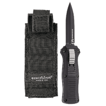 BENCHMADE Mini Infidel Black Dagger Black Aluminum Handle Out-the-Front Knife