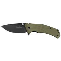 KERSHAW Knockout 3.25in DLC Black Drop Point Olive Green Aluminum Handle Spring Assisted Folding Knife (1870OLBLK)