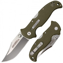 COLD STEEL Bush Ranger Lite Satin Clip Point OD Green Nylon Handle Folding Knife
