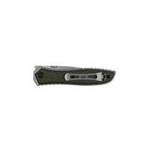 ZERO TOLERANCE 0640 Satin Clip Point Stonewash Titanium Handle with Green Black Carbon Fiber Overlay Folding Knife