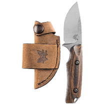 BENCHMADE Hidden Canyon Hunter Satin Drop Contoured Dymondwood Handle Fixed Blade Knife with Leather Sheath