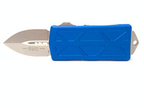 MICROTECH Exocet Stonewash Dagger Blue Aluminum Handle Automatic Out-the-Front Knife