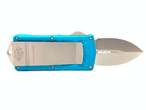 MICROTECH Exocet Stonewash Dagger Turquoise Aluminum Handle Automatic Out-the-Front Knife