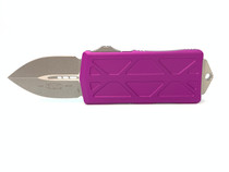 MICROTECH Exocet 1.98in Stonewash Dagger Violet Aluminum Handle Automatic Out-The-Front Knife (157-10VI)