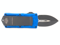 MICROTECH Exocet Black Dagger Blue Aluminum Handle Automatic Out-the-Front Knife