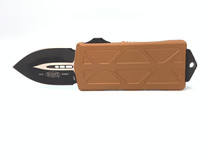 MICROTECH Exocet Black Dagger Tan Aluminum Handle Automatic Out-the-Front Knife