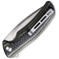 CIVIVI Incite Satin Drop Point Layered Green G10 and Carbon Fiber Handle Folding Knife