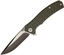 WE KNIFE Blitz 3.35in Two-Tone Drop Point OD Green/Black G10 Handle Folding Knife (711B)