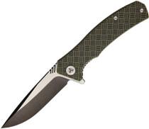 WE KNIFE Blitz Two Tone Drop Point OD Green Black G10 Handle Folding Knife